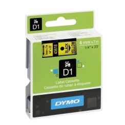 Páska Dymo 6mm 43618, D1 čierna na žltú